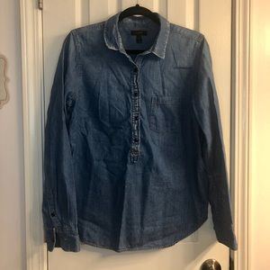 J Crew Popover Denim Chambray button down shirt